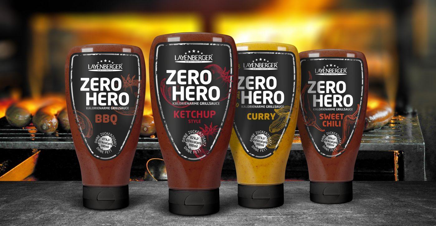 Die vier Layenberger Zero Hero Grillsaucen