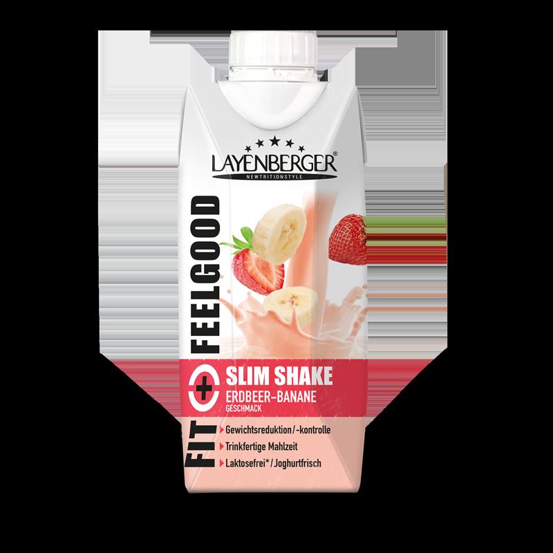 Ein Packung Fit+Feelgood fixfertig Shake Erdbeer-Banane