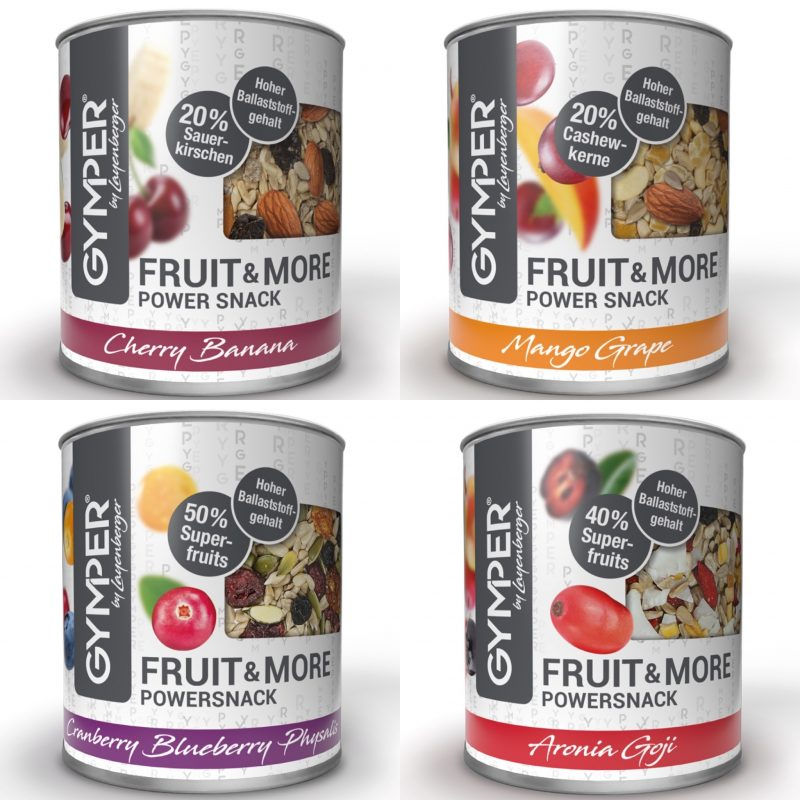Alle vier Sorten GYMPER Fruit&More Powersnack