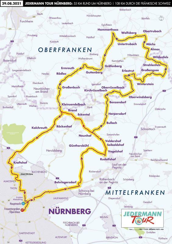 Eine Landkarte mit den eingezeichneten Streckenführungen  der Jedermann Tour!