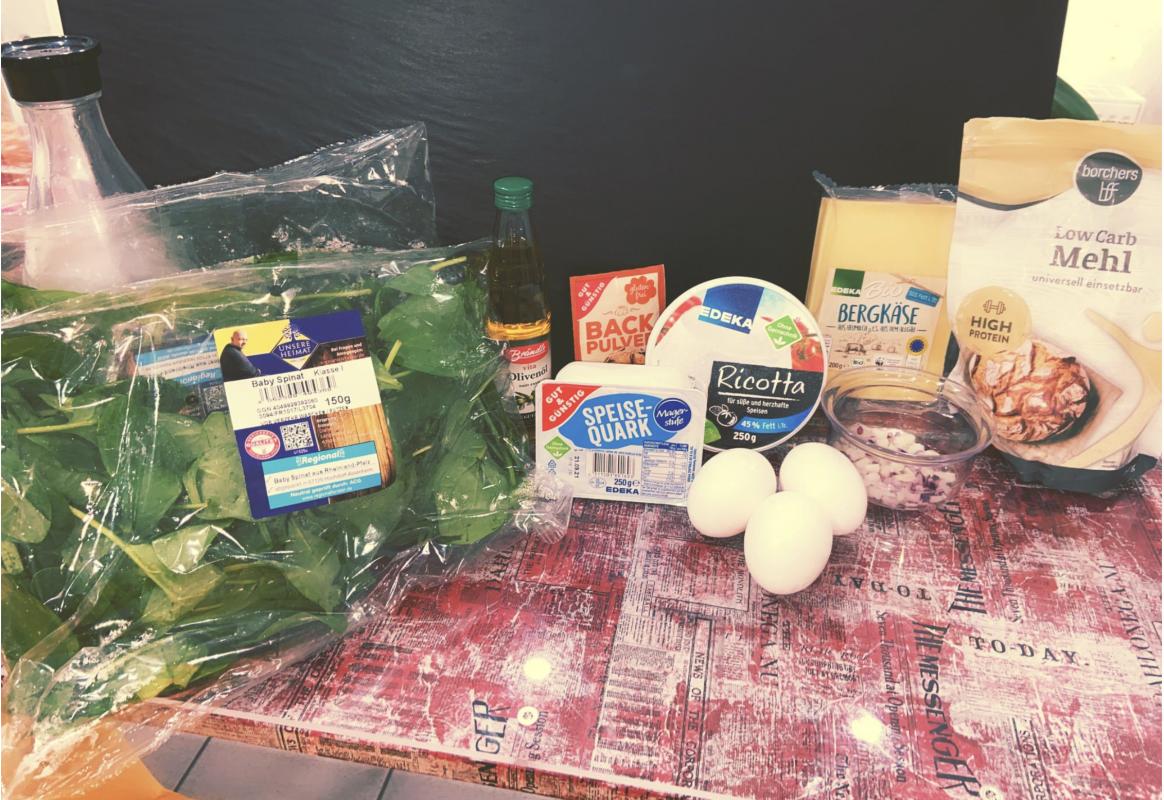 Zutaten Low-Carb-Pancakes mit Spinat und Käse